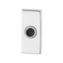 Doorbell with black button GPF9826.41 rectangular 70x32x10 mm polished stainless steel