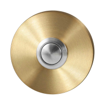 Doorbell with black button GPF9827.09P4 round 50x8 mm PVD satin brass