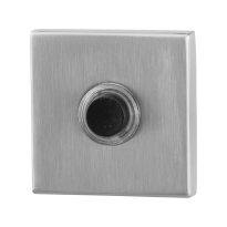 Doorbell with black button GPF9826.02 square 50x50x8 mm satin stainless steel
