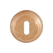 Keyhole escutcheon 651/ B 51x12mm unlacquered brass tumbled