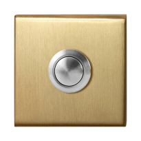 Doorbell with black button GPF9827.02P4 square 50x50x8 mm PVD satin brass